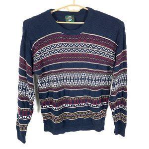 VTG Jantzen Sweater Knit Geometric Striped Grandpa